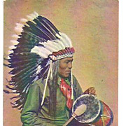 REDUCED Pueblo Indian Drummer~Vintage Post Card~Curteich-Chicago