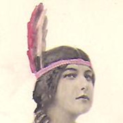 REDUCED Native American~Indian Maiden~Regal Pose on Vintage Post Card