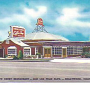 The Brown Derby~Los Feliz Blvd~Hollywood Car Cafe~Postcard
