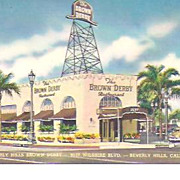 SOLD The Brown Derby Beverly Hills~9537 Wilshire Blvd~Vintage Post Card