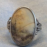 Antique Georgian Silver Hand Painted Porcelain Scenery Ring