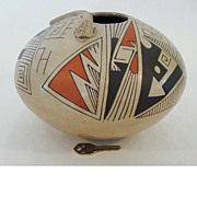 Contemporary Indian Seed Pot Crafted And Signed By Celia Lopez With Snake Decoration