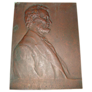 SALE Antique Bronze Portrait Plaque of President Abraham Lincoln