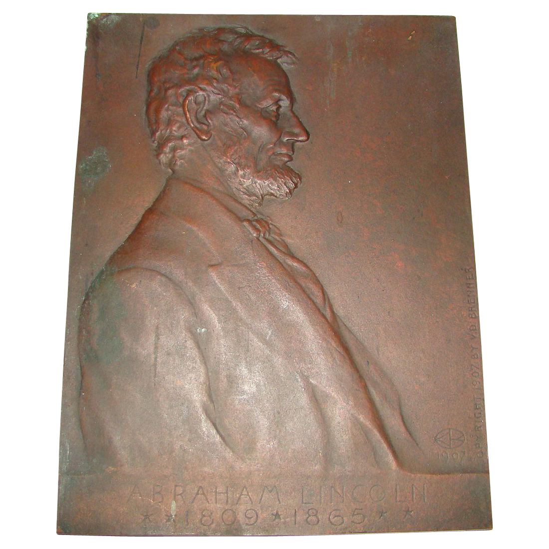 Antique Bronze Portrait Plaque of President Abraham Lincoln
