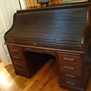 SALE Victorian Black Walnut S-Shaped Roll Top Desk