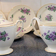 1952 Homer Laughlin Eggshell Georgian Dessert Set Violet Pattern