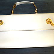 Rare White Leather Vintage Roberta Di Camerino handbag, Cherub Accents