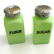 Jadite McKee Sugar and Flour Square  Shaker Set, Book Pieces