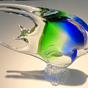 Large Italian Murano Art Glass Angel Fish