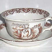 York Tykes' Motto LARGE Cup and Saucer by British Anchor