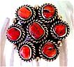 Navajo Pawn Sterling & Coral Ring-Bold-9&quot; Signed MS