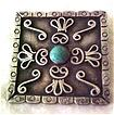 Early Mexican Sterling Silver & Turquoise Scroll Design Pin-C Clasp