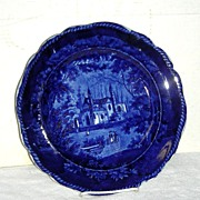 Dark Blue Historical Staffordshire Plate ~ Tams Foliage Border