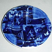 Rare Historical Staffordshire Double Transfer Cup Plate ~ The Errand Boy from Wilkie's Design