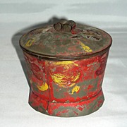 Decorated Red Toleware Sugar Box, c. 1840