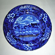 "7 3/4"" American Historical Staffordshire Salad Plate ~ Landing of Lafayette at Castle Gar"