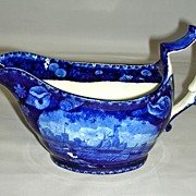 Rare Dark Blue Historical Staffordshire Shell Border Gravy Boat of Naval Scene by Enoch Wood