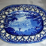 Dark Blue Historical Staffordshire Reticulated Undertray: Italian Scenery Series by Enoch Wood