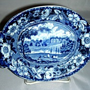Blue Historical Staffordshire Gravy Tureen Undertray ~ Redgrave Hall, Stevenson�s Wild Rose Bo