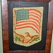 American Patriotic Needlework Purse w/ Eagle & 42 Star US Flag c. 1890