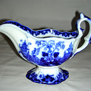Staffordshire Flow Blue Scinde Pattern Gravy Boat, c. 1840