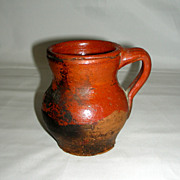 "Miniature 19th Century Widemouthed Redware Jug, 4"" tall"