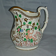 Large Early 19th C. Porcelain Presentation Jug w/ Molded Bacchus & Grape Decoration