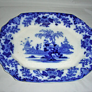 16 Staffordshire Flow Blue Scinde Pattern Platter, c. 1840