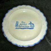 Blue Leeds Shell Edge Childs Plate ~ For Dutiful Behaviour w/ Boy Riding Dog c. 1820