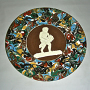 Slip Decorated Marbled Mocha Ware Mochaware Plate w/Sprig Cherub Figure by Thomas Fradley, c .