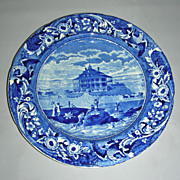 Blue American Historical Staffordshire Plate: Nahant Hotel, Boston w/ Stubbs Spread Eagle ...
