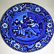 Dark Blue Staffordshire Plate ~ The Valentine from Clews� Wilkie�s Design Series, c. 1825
