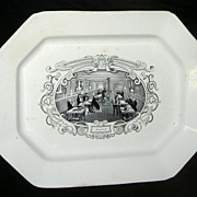 Large American Historical Staffordshire Boston Mails Platter, c. 1840
