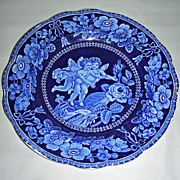 Dark Blue Staffordshire Dinner Plate ~ 2 Cherubs Flying w/ Adams Mark, c. 1820