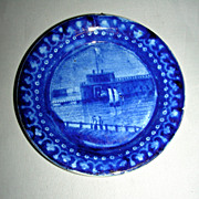 American Historical Staffordshire Cup Plate ~ Castle Garden Battery by Enoch Wood