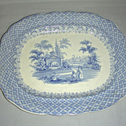 12� Blue Staffordshire Platter: Zoological Series w/ Polar Bear, 1837