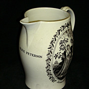C. 1820 Liverpool Creamware Presentation Jug: Sailor�s Farewell/Return w/ Woman�s Name under S