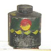 Decorated Toleware Tea Caddy, Maine Origin, c 1840