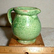 "Rare 19th C Miniature Green Glazed Yellow Ware Jug 2 1/2"" tall"