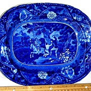 Dark Blue Staffordshire Platter from the Don Quixote Series ~ Shepherd Boy Rescued ~ c. 1825