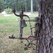 SOLD Antique Brass Bell Set in Iron, Mild Steel for Door or Gate Figural Don ...