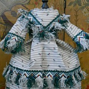~~~ Pretty Antique French Poupee Gown with Pagoda Sleeves ~~~