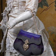 ~~~ Beautiful French Velvet Purse for Fashion Lady / circa 1870 ~~~