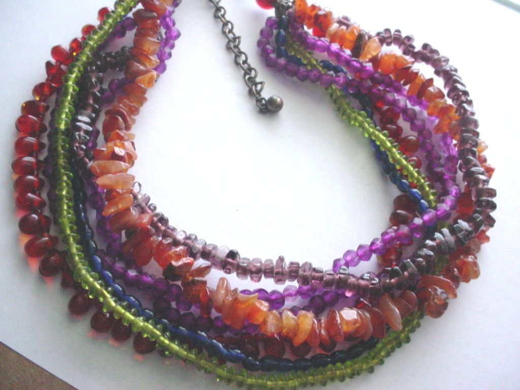 Seven Strand Multi Colored Necklace from whitedove on Ruby Plaza :  nuggett seven strand multi colored necklace strand colors