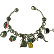 SALE Cooking Themed Sterling Charm Bracelet.