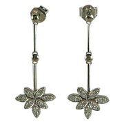 SALE 18K White Gold & Diamond Dangle Earrings-Pierced.