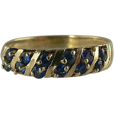 Stunning Ceylon Sapphire Band Ring Styled in 10k Gold, Size 8.