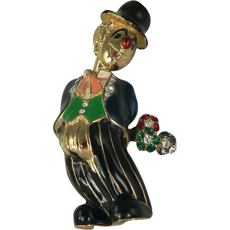 "Whimsical Clown Brooch Design by ""JOMAZ""."