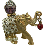 SALE Dimensional Elephant Brooch~Designed by Napier.