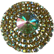 SALE Iridescent Weiss Circle Brooch.